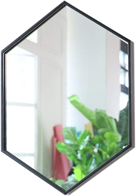 Bathroom Vanity Mirror, Nordic Simple Wrought Iron Border Wall Mirror - Creative Glass Decorative Mirror - Living Room Wall Mirror (color   Black, Size   40X60cm)