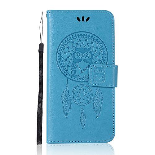 Sunrive Hülle Für BlackBerry DTEK50 / Alcatel Idol 4, Magnetisch Schaltfläche Ledertasche Schutzhülle Hülle Handyhülle Schalen Handy Tasche Lederhülle(Blau Eule)