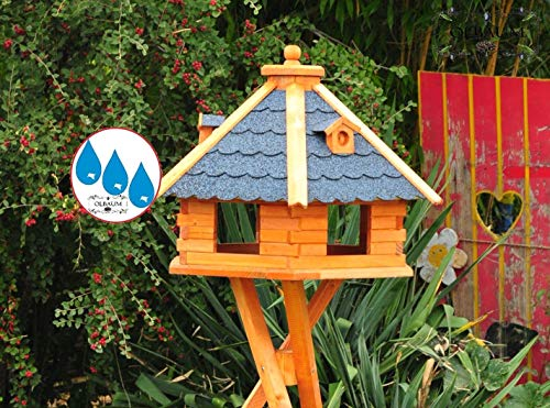 Vogelhaus-Futterhaus Massivholz,Massiv-Vogelhäuser, XXL ca. 70-75 cm, wetterfest Massivdach, mit Silo/Futtersilo für Winterfütterung,Gartendeko aus Holz blau grau BGX75blOS Vogelhäuser