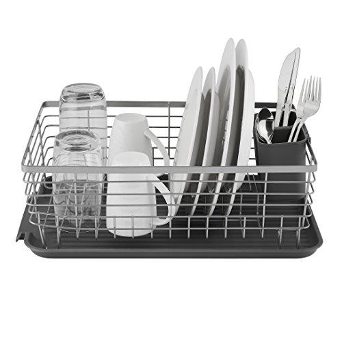 Tower T847001 Compact Dish Rack with Removable Cutlery Drainer, Colour Coated Stainless Steel, Grey , 32 x 45 x 15 cm