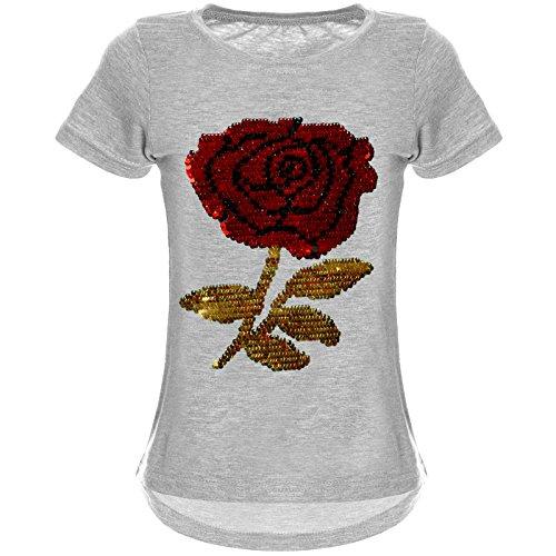 BEZLIT BEZLIT Mädchen Wende-Pailletten T-Shirt Rose ALS Motiv 22035 Grau Größe 116
