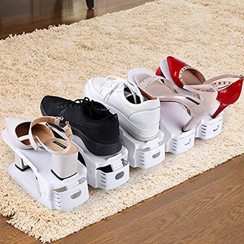 Wffo Creative - Organizador de Zapatos de plástico para Ahorrar Espacio, Ajustable, Duradero, Talla única, Color Blanco