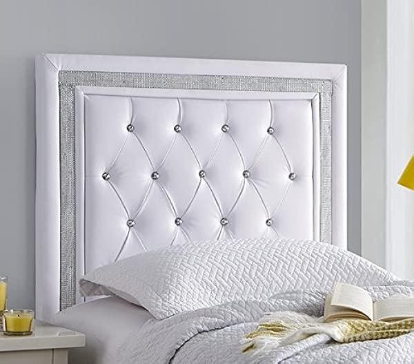 Tavira Allure College Dorm Headboard White With Silver Crystal Border