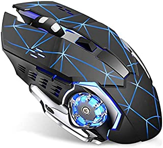 Wireless Gaming Mouse with Unique Silent Click, Breathing Backlight, 2 Side Buttons, (2400, 1600, 1200, 800) DPI, Ergonomic Handle, 6 Buttons, Suitable for PC Notebook Gamers.… (heise-1)
