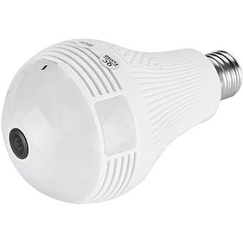 720P WIFI電球カメラ360°広角魚眼HD屋内スパイ防犯カメラリモートホームセキュリティシステム、動きの検出と双方向の話をする(赤外線+ 960P白色光)