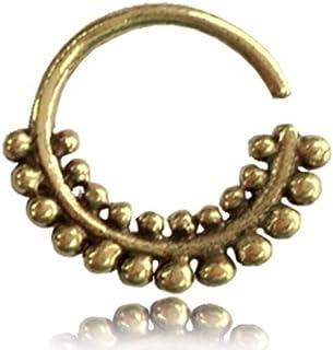 Chic-Net SETTO Piercing naso anello ottone piccole sfere due file 1 mm oro antico orecchini