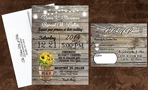 sunflower hippie wedding invitations