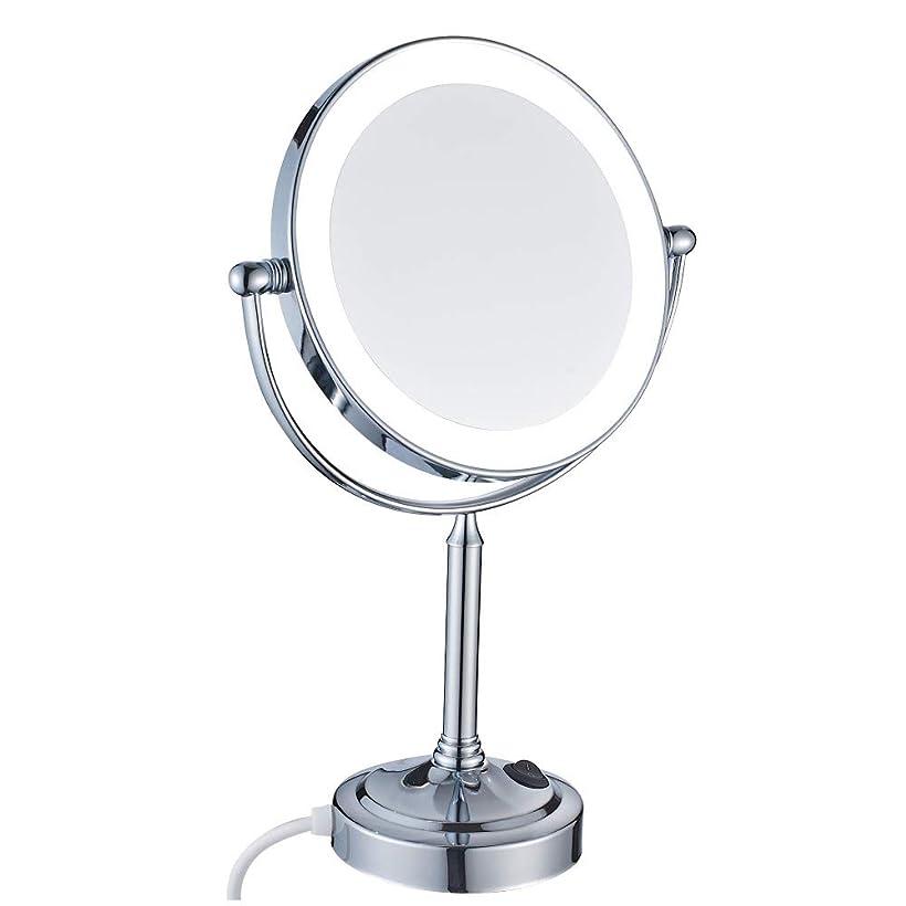 気になる文彼らはLEDライト付き化粧鏡、8インチクローム両面真鍮調整可能化粧鏡、プラグ付き拡大鏡,5x