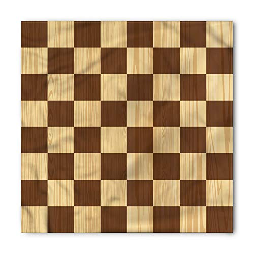 Ambesonne Unisex Bandana, Checkered Checkerboard Wooden, Pale Brown