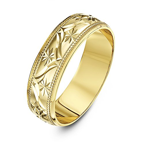 Theia 9ct Yellow Gold - Super Heavy Weight D Shape Leave Design 6mm Wedding Ring - Size U