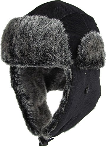 Solid Buffalo Plaid Aviator Trapper Hat Trooper Ear Flaps Ushanka Eskimo Bomber Russian Warm Winter Cold Skiing ((1.3) Corduroy Black)