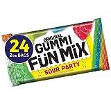 Original Gummi Fun Mix, Gummy Candy Snacks, Sour Party, Bulk Pack, 2 oz Individual Single Serve Bags (Pack of 24)