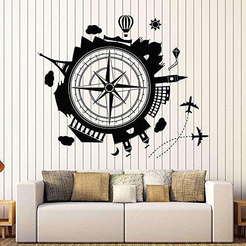 Vuelo avión viaje redondo mapa del mundo brújula viaje global ciudad hito edificio vinilo etiqueta de la pared calcomanía dormitorio oficina club decoración del hogar mural