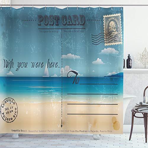 Postal Decor cortina de ducha por Ambesonne, nostálgico Tropical verano Tarjeta de fondo en Vintage sello viaje impresión, tela Set de decoración de baño con ganchos, arena azul y marrón
