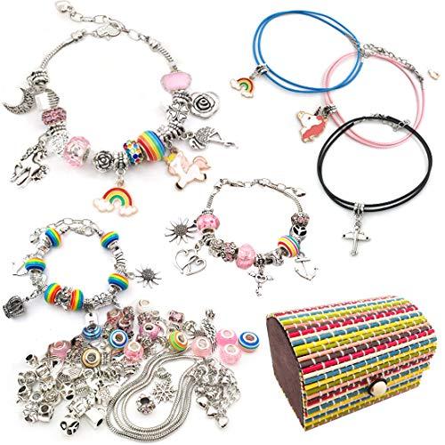 DMAXUN 72 Stück Charm Armband kit, schmuckherstellungsset DIY Silber-Armband für mädchen, schmuck für mädchen Teenager, schmuck selber Machen Set Kinder ab 8-14 Jahre mädchen Geburtstag Geschenke