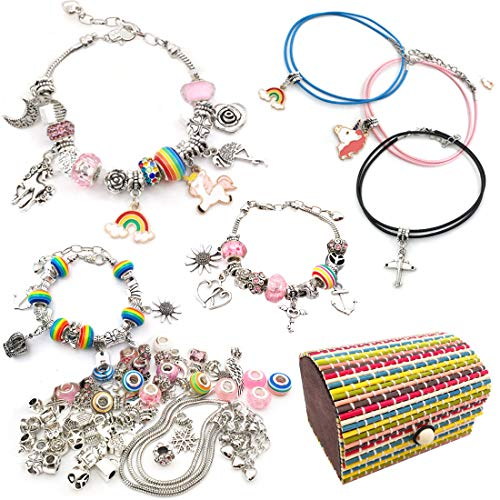 DMAXUN Charm Bracelet Making Kit for Girls 70 PCSJewellery DIY Arts Craft Sets for Children Charms Pendants Rainbow Silver Plated Beads Chains Necklaces Gift Box