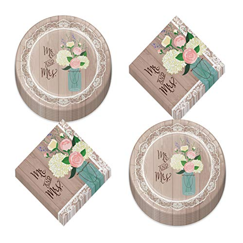 Rustic Wedding Party and Bridal Shower Dinner Plates and Luncheon Napkins - Mr. & Mrs. Floral and Lace Barnwood Design (Serves 16)