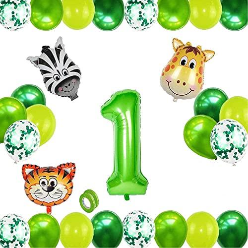 Globo 1 Año Verde,Selva Fiesta de Cumpleaños Decoracion,Globos Grandes de Cumpleaños,Globo Numero 1,1 Globo Cumpleaños,Decoracion Cumpleaños Niño 1 Años