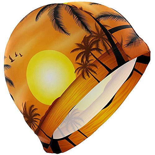 Bonnets de Bain Summer Beach Sun Coconut Tree Aloha Bonnet de Bain HatBathing Shower Hair Cover
