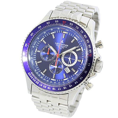 [ラドウェザー]メンズ腕時計 スイス製トリチウム クロノグラフ 100m防水 パイロットウォッチ (ブルー)