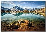 Panorama Póster Lac Blanc 70x50cm - Impreso en Papel 250gr - Póster Pared - Láminas para Enmarcar - Cuadros Decoración Salón - Pósters Decorativos - Cuadros Modernos