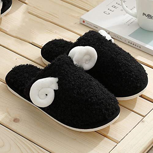 B/H Indoor Home Fluffy Slippers Shoes,Pantofole di Cotone pecorelle, pantofole di Peluche invernali femminili-Nere_42-43,Zapatos de algodón de Felpa de Interior de Fondo Grueso