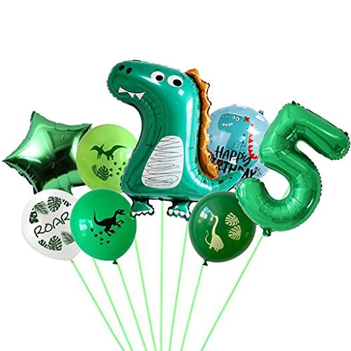Conruich dino globos cumpleaños 5 años, quinto cumpleaños decoraciones para fiesta globo gigante papel aluminio número 5 globos papel aluminio verde globos decoración fiesta dinosaurio para niño niña