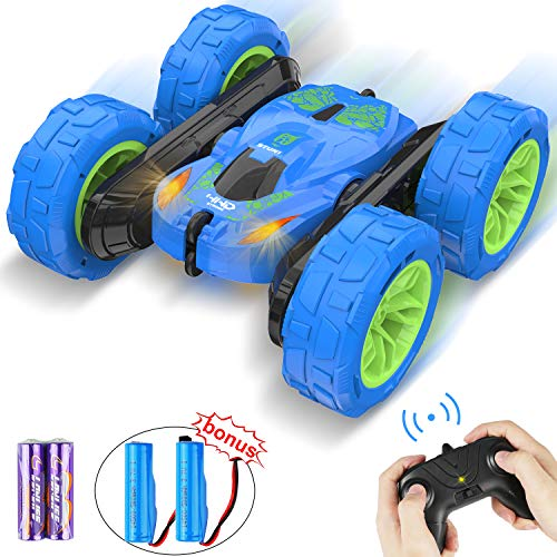 Remote Control Car Toy, 360° Flip RC Cars for Kids, 4WD 2.4GHz Stunt Car, Double Sided Rotating Electric Radio RC Crawler Vehicles for Boys & Girls, Christmas Birthday Gifts Toys (Blue)