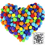 Pom Poms 300pcs 1 Inch with 100pcs Wiggle Googly Eyes for Creative Crafts DIY Decorations Assorted Colors