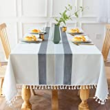 Aitsite Tablecloth Stitching Tassel Cotton Linen Tablecloth Wrinkle Free Dust-Proof Table Cover for Kitchen Dining Room Home Tabletop Decoration(Rectangle,55'x 86'inch)