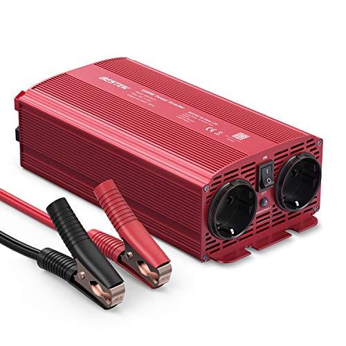 BESTEK KFZ Spannungswandler 1000W DC 12v auf AC 230v Wechselrichter Stromwandler mit 2 DE-Steckdose, 4 Sicherunge und 1 Paar Batterieklemmen für Auto Batterie, für Urlaubsreisen im Freien