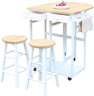 Amazon Com Mtfy Kitchen Island With Stools Small Kitchen Table With Rolling Casters Dining Table Set With Folding Drop Leaf 2 Drawers Small Kitchen Table Set For 2 Square Stools Semicircle Brown