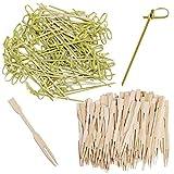 Paquete de 200, tenedores de bambú y brochetas de nudos, SourceTon Mini púas de comida con...