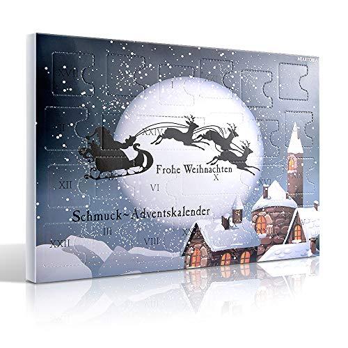 MJARTORIA Schmuck Adventskalender 2020 Damen Mädchen Frauen Kinder Xmas Weihnachtskalender mit 24 Überraschungen Choker Kette Brosche Button Charms(Schwarzer Elch)