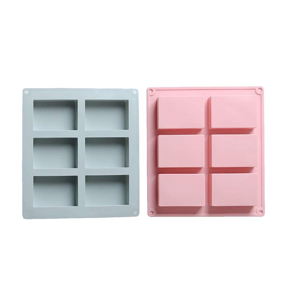 委任プール野なSUPVOX シリコン長方形モールドソープチョコレートキャンドルとゼリーブラウン2個(青とピンク)を作るための6つのキャビティ