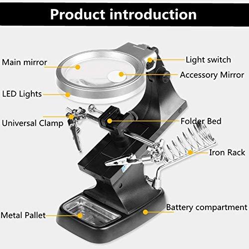 HD-steken borduurwerk hands free tafellamp vergrootglas voor horloge-mobiele telefoon elektronica professionele zweet amplifier maintenance tool 8X desktopvergrootglas met verlichting, wxxdlooa