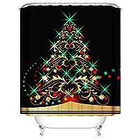 クリスマスのシャワーカーテン防水ポリエステル、クリスマスツリーサンタのECTパターン、絶妙なキュートなデザイン、見逃すことのAway12フッククリスマスデコレーション浴室未与えます black-80