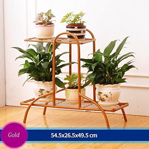 Escalier à fleurs en fer Canapé à fleurs Salon en plein air Balcon Ensemble à fleurs 3 couches (54,5 * 26,5 * 49,5 cm) (Couleur : Bronze)