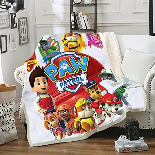 Couverture Polaire Flanelle 100x140cm - Impression 3D du Motif Pat Patrouille,Couverture Doux et Confortable - pour Couch,Sofa,Chambre - Facile à Entretenir(150x200cm,Pat Patrouille 3)