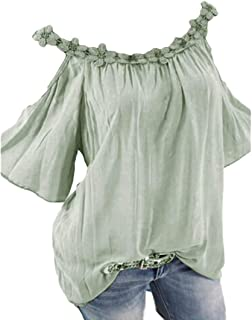 MK988 Women Short Sleeve Cold Shoulder Plus Size Lacy Shirt Blouse Tops