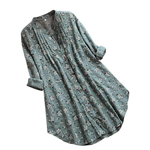 Blusa Camicia Elegante Donna Casual Manica Lunga con Stampa Floreale Pieghettata Scollo a V Camicetta (XL,1- Verde)