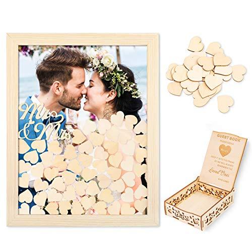 Creawoo Marco de madera para libro de firmas (parte trasera extraíble) con 100 corazones vacíos y buzón de invitados para regalos de boda para amigos (madera)