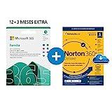 Microsoft 365 Familia | Apps Office 365 | PC/MAC/teléfono | Suscripción anual | 12+3 Meses + NORTON 360 Deluxe | 15 Meses | PC/Mac - Código de activación enviado por email