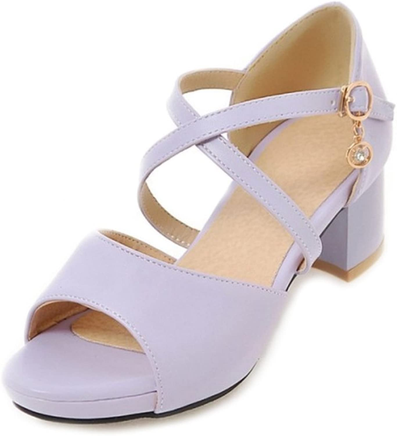 CuteFlats Women Sandals with Chunky Heel and Cross Straps with Large