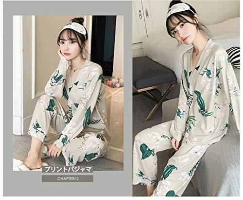 IHCIAIX Pijama de Verano para Mujer, Conjunto de Pijamas de Mujer Kimono Nuevo Estampado de Dibujos Animados de Manga Larga Ropa de Dormir Linda Ropa de casa Casual Pijama de Talla Grande para mu