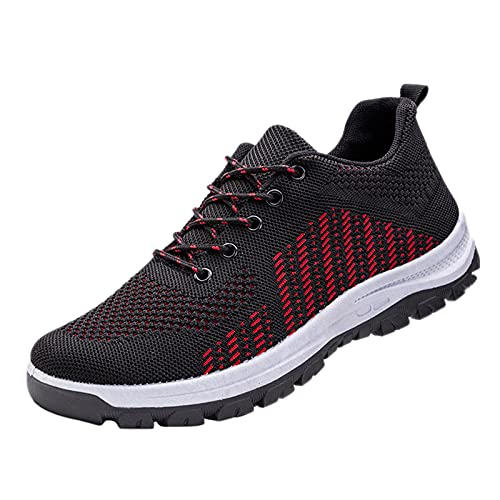 Zapatillas de correr para hombre, transpirables, para caminar, tenis, gimnasio, atlético, casual, deporte, fitness, entrenamiento, antideslizantes, zapatos planos para correr, Red, 38 2/3 EU