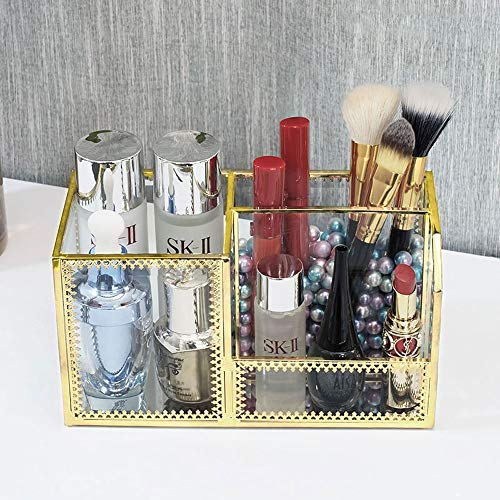 Kcakek Transparant Glas Cosmetische Storage Box multifunctionele make-up kwast Tube Desktop dressing box Layered cosmetische afwerking Rack Cosmetische Storage In badkamer en slaapkamer