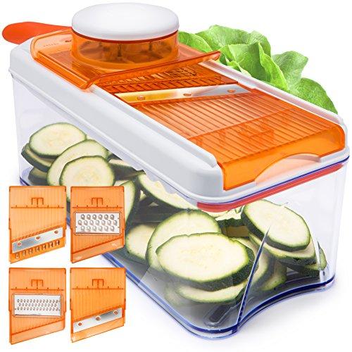 Verstellbarer Mandoline Gemüseschneider von HomeNative® mit 4 austauschbaren Klingen aus rostfreiem Stahl - Multischneider: Gemüsehobel, Gemüseschäler, Gemüsereibe und Julienneschneider in 1nem