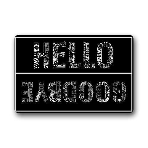 Daisylove Paillasson personnalisé lavable en machine Hello And Goodbye intérieur/extérieur 59,9 cm (L) x 39,9 cm (l)