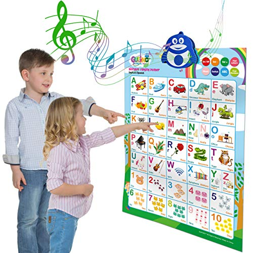 Learning Toys for Toddlers 1-3 - Interactive Alphabet Poster, Talking ABC and 123s and Songs and Sound of Music - Bilingual Spanish and English - Perfect Educational Toys for 2 Year Old